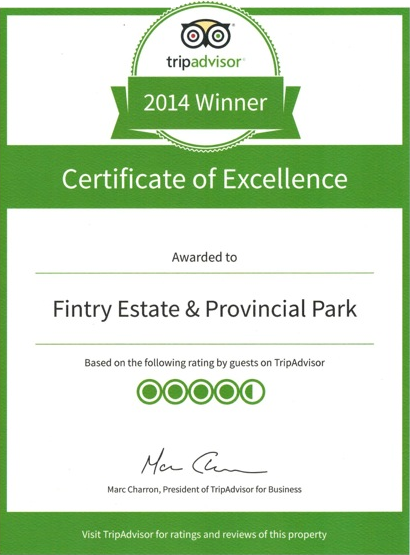 Tripadvisor Certificate of Excellence awarded to Fintry Estate & Provincial Park